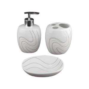 Kit Saboneteira Liquida Porcelana Cream 3 Peças - Wincy