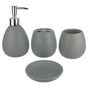 Kit Saboneteira Liquida Cerâmica Oval Cinza 4 Peças - Susan