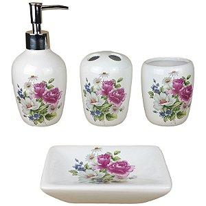 Kit Saboneteira Liquida Cerâmica Flores 4 Peças - Susan