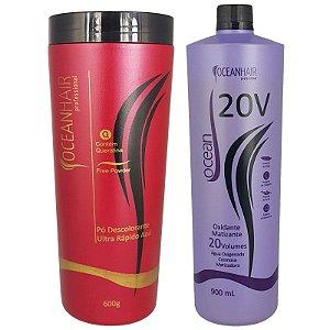 Pó Descolorante Ultra + Água Oxigenada Matizadora  20 Volumes - Ocean Hair