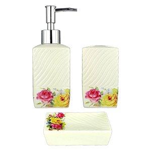 Kit Saboneteira Liquida Cerâmica Flores Coloridas 3 Peças - Wincy