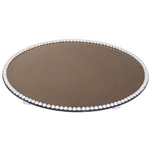 Travessa Redonda Espelhada Bronze com Pérolas Boleira  Doces e Festa 45cm - VEG