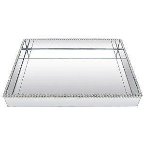 Bandeja Retangular de Vidro Espelhado Duplo Decorativa com Pérolas 40x30 cm - VEG