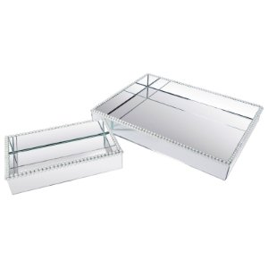 Kit  Bandeja Retangular Vidro Espelhada Dupla Decorativa com Pérolas 25x15 - 50x40 cm - VEG