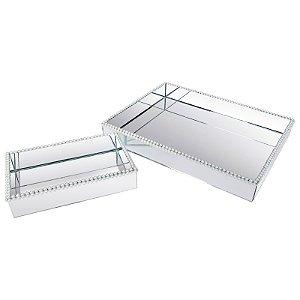 Kit  Bandeja Retangular Vidro Espelhada Dupla Decorativa com Pérolas 40x30 - 50x40 cm - VEG