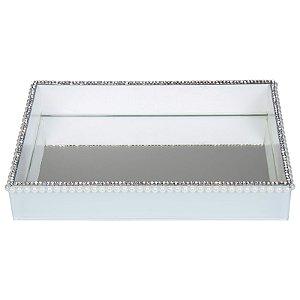 Bandeja Decorativa Retangular de Vidro Branco com Pérolas e Strass 30x20 cm - VEG