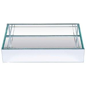 Bandeja Retangular de Vidro Espelhado Duplo  30x20 cm - VEG