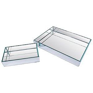 Kit Bandeja Retangular Vidro Espelhada Dupla 25x15 - 50x40 cm - VEG