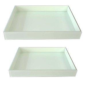 Kit Bandeja Retangular de Vidro Branca 30x20 - 40x30 - VEG
