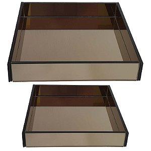 Kit de Bandejas Quadradas de Vidro Espelhado Bronze 30x30 e 40x40 cm - VEG