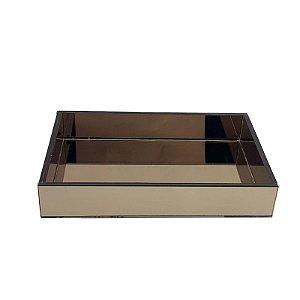 Bandeja Retangular de Vidro Espelhado Bronze 30x20 - VEG