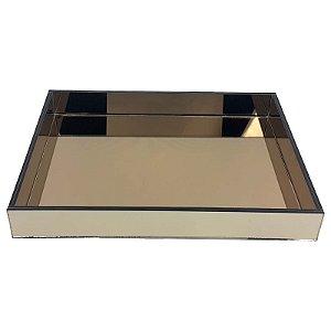 Bandeja Retangular de Vidro Espelhado Bronze 40x30 - VEG