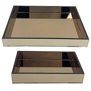 Kit de Bandeja Retangular de Vidro Espelhado Bronze 30x20 e 40x30 cm - VEG