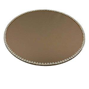 Travessa Redonda Espelhada Bronze com Pérolas de Coração Boleira  Doces e Festa 35cm - VEG