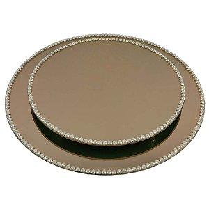 Kit Travessa Redonda Espelhada Bronze com Pérolas de Coração Boleira  Doces e Festa 25 e 35 cm - VEG