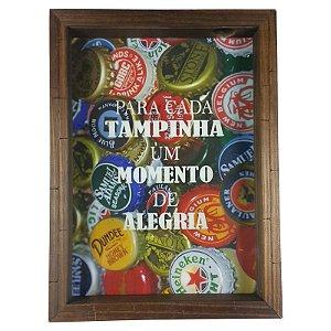 Quadro Porta Tampinha de Cerveja Madeira e Vidro Decoração Ref. 7911 - Art