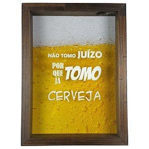 Quadro Porta Tampinha de Cerveja Madeira e Vidro Decoração Ref. 7914 - Art