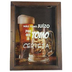 Quadro Porta Tampinha de Cerveja Madeira e Vidro Decoração Ref. 7913 - Art