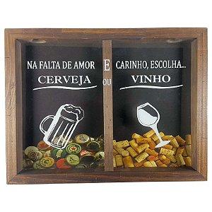 Porta Rolha de Vinho e Tampinhas de Cerveja Madeira e Vidro Decoração Ref. 7951 - Art