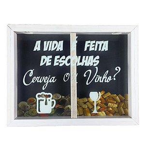 Porta Rolha de Vinho e Tampinhas de Cerveja Madeira e Vidro Decoração Ref. 7952 - Art