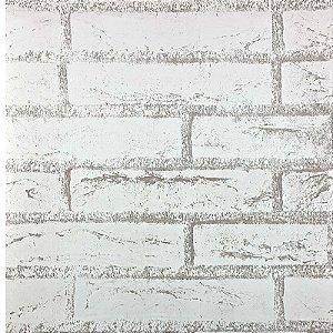 Papel de Parede Auto Adesivo PVC  Tijolo Branco 45cmX5m - Ref. 62047B