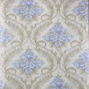 Papel de Parede Auto Adesivo PVC  Flor Azul Dourado 45cmX5m - Ref. 631822A