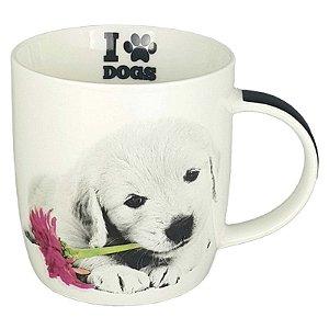 Caneca Porcelana Lindo Pet Cachorro Golden Retriever Filhote 320 ml - DM Brasil