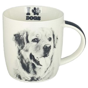 Caneca Porcelana Lindo Pet Cachorro Golden Retriever  320 ml - DM Brasil