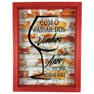 Quadro Porta Rolhas Madeira e Vidro Decoração Vermelho Ref. 7941 - Art