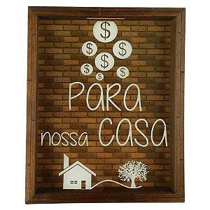 Quadro Cofre Madeira e Vidro Decoração Para Nossa Casa 8044