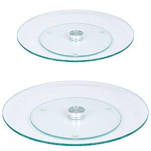 Kit Pratos Giratórios Vidro Transparente Temperado 30 e 45 cm - Wincy