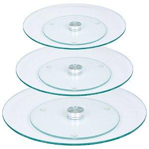 Kit Pratos Giratórios Vidro Transparente Temperado 30 45 e 60 cm -  Wincy