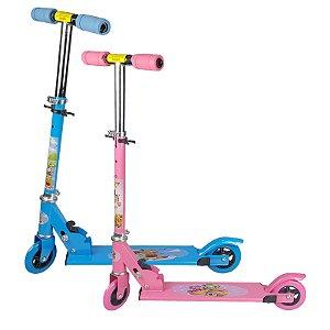 Kit Patinete Infantil Brinquedo 02 Rodas em Gel Dupla Azul e Rosa