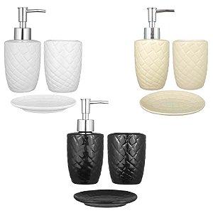 Kit Saboneteira Líquida Porta Escova e Sabonete Cerâmica 3 Peças - Art House