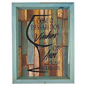 Quadro Porta Rolhas Madeira e Vidro Decoração Azul Ref. 7944 - Art