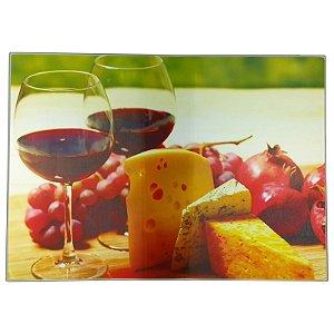 Tabua de Corte Vidro Temperado 28x38cm Vinhos e Queijos - Wincy