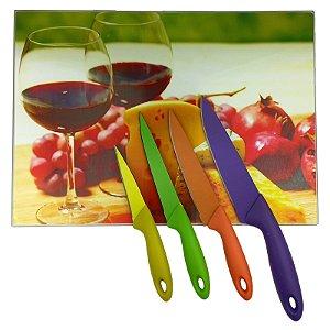 Tábua de Corte Vidro Temperado 28x38cm Vinhos e Queijos + Jogo Facas Inox Colorida 4 Peças  - Wincy