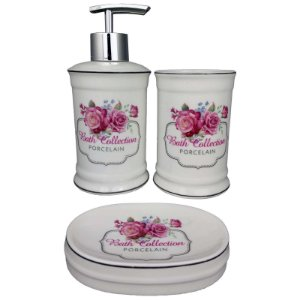 Kit Saboneteira Liquida Porcelana Branca Bath Collection - Amigold