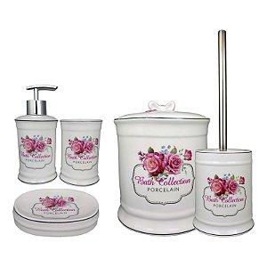 Kit Banheiro em Porcelana Branca com Lixeira Porta Sabonete Escova 5 peças - Amigold
