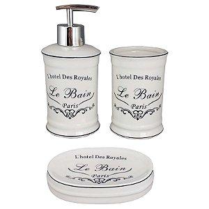 Kit Saboneteira Liquida Porcelana Branca Le Bain Paris - Amigold