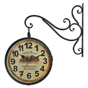 Relógio de Parede Retrô Vintage Estação Ferroviária Decoração Dupla Face Bordeaux 1971