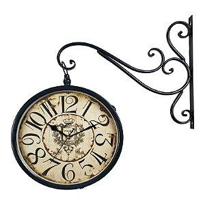 Relógio de Parede Decorativo com Suporte - Face Dupla - Estação Ferroviária de Paris