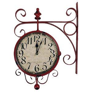 Relógio de Parede Decorativo Vermelho Modelo Antiga Estação de Trem Estação Paris France 1892