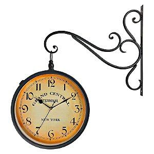 Relógio de Parede Decorativo Vintage Retrô Preto Estilo Estação Ferroviária Grand Central New York