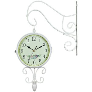 Relógio de Parede para Decoração Estilo Estação Ferroviária Face Dupla - Retrô Vintage Flores