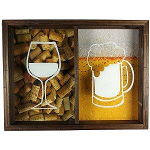 Quadro Duplo Porta Rolhas Vinhos e Tampinha Cerveja Rustico - Vinho e Cerveja