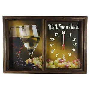Quadro Relógio Porta Rolhas Vinho Decoração Rustico - ArtFrame