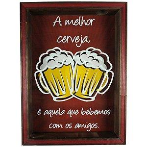 Quadro Porta Tampinhas Cerveja Rústico Decoração A Melhor Cerveja - ArtFrame