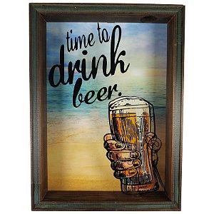 Quadro Porta Tampinhas Cerveja Rústico Decoração Time do Drink - ArtFrame