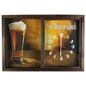 Quadro Porta Tampinha Com Relógio It's Beer - ArtFrame